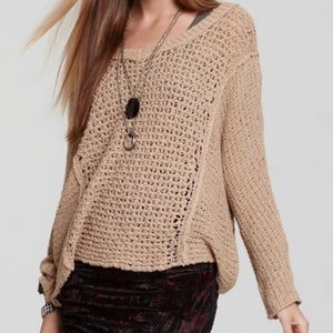 Free People | Tan Open Knit V-Neck Sweater